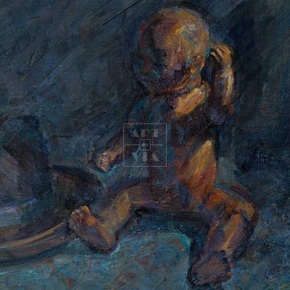 Фрагмент картины 3/3. Натюрморт с куклой и шляпой