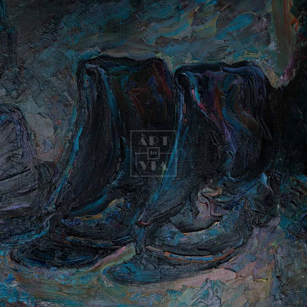 Фрагмент картины 1/3. Натюрморт с сапогами и шляпой