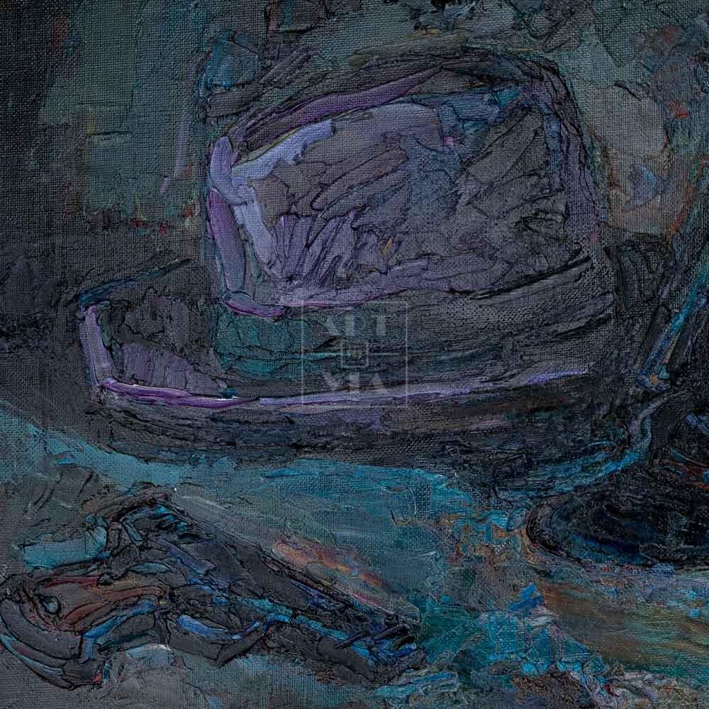 Фрагмент картины 3/3. Натюрморт с сапогами и шляпой