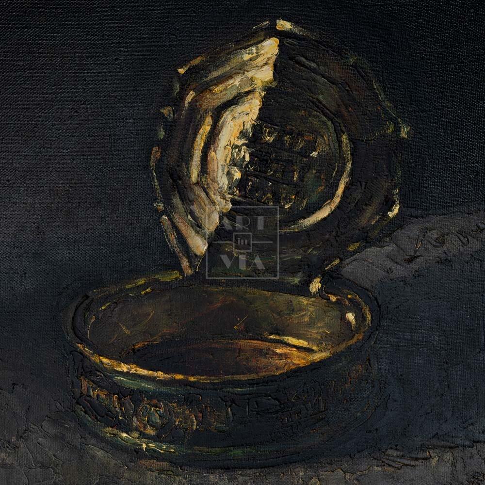 Фрагмент картины 1/3. Натюрморт. Банка шпрот