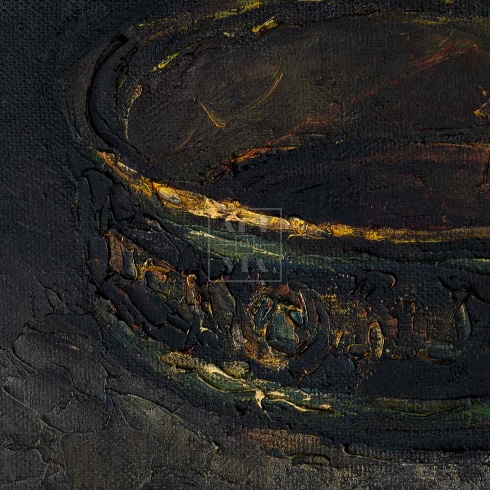 Фрагмент картины 2/3. Натюрморт. Банка шпрот
