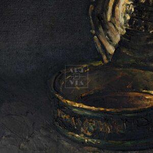 Фрагмент картины 3/3. Натюрморт. Банка шпрот