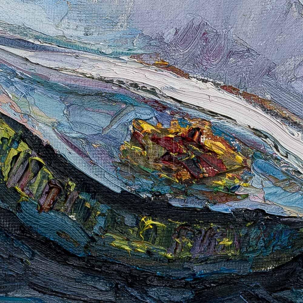 Фрагмент картины 2/3. Натюрморт с фуражками и красной туфелькой