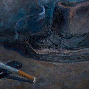Фрагмент картины 1/3. Натюрморт с сигаретой и зажигалкой