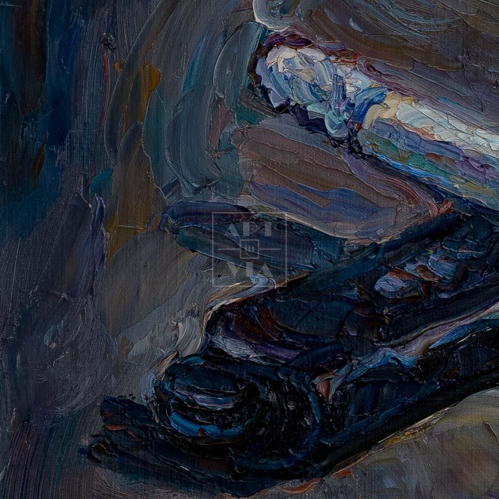 Фрагмент картины 2/3. Натюрморт с сигаретой и зажигалкой