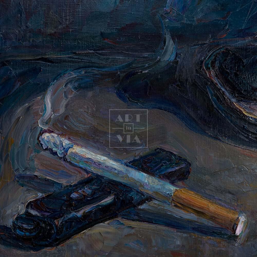 Фрагмент картины 3/3. Натюрморт с сигаретой и зажигалкой