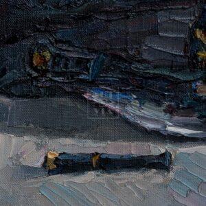 Фрагмент картины 2/3. Натюрморт с фуражками и черной туфелькой