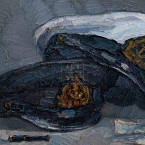 Фрагмент картины 3/3. Натюрморт с фуражками и черной туфелькой