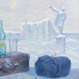 Фрагмент картины 1/3. Натюрморт с шапкой и чемоданчиком