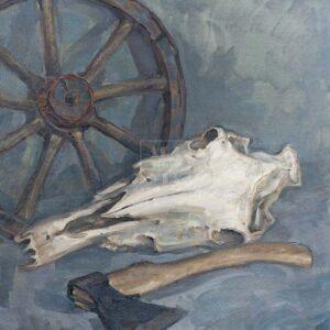 Фрагмент картины 1/3. Натюрморт. Колесо. Череп коня. Топор