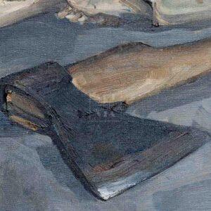 Фрагмент картины 2/3. Натюрморт. Колесо. Череп коня. Топор