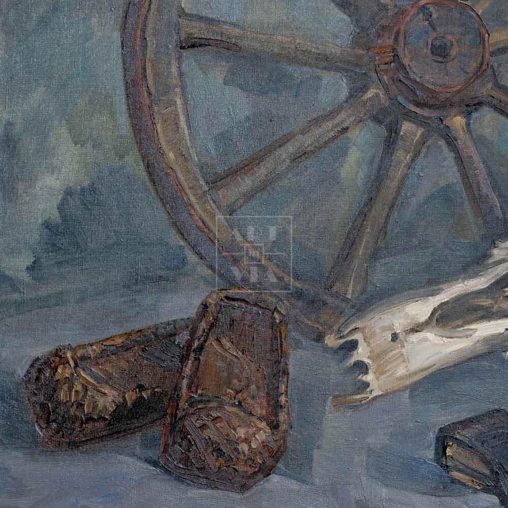 Фрагмент картины 3/3. Натюрморт. Колесо. Череп коня. Топор