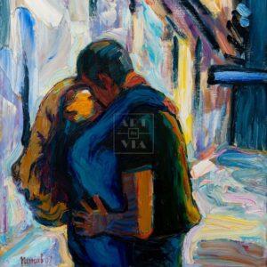 Фрагмент картины 1/3. Пейзаж. Поцелуй