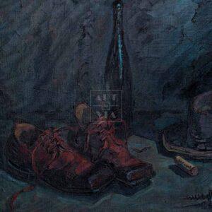 Фрагмент картины 1/3. Натюрморт с красными ботинками