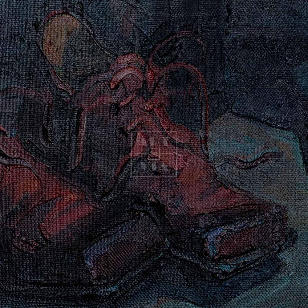 Фрагмент картины 2/3. Натюрморт с красными ботинками