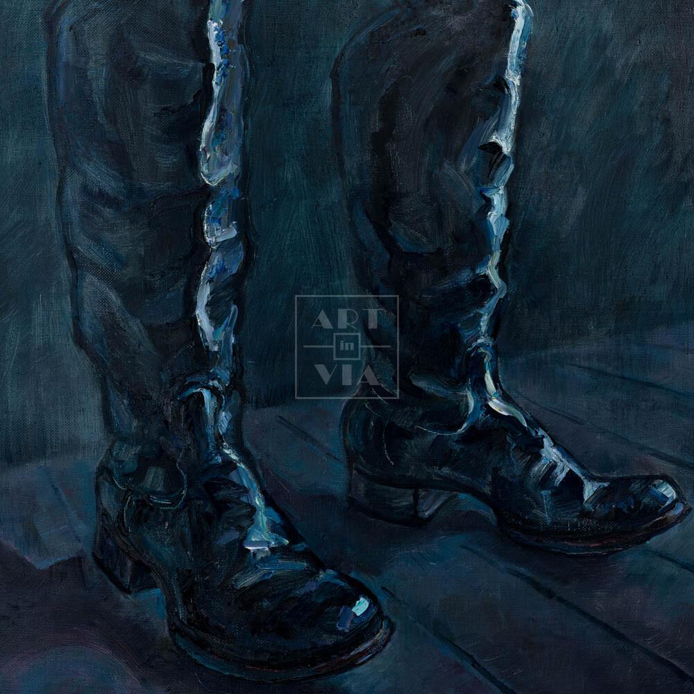 Фрагмент картины 1/3. Натюрморт с черными сапогами