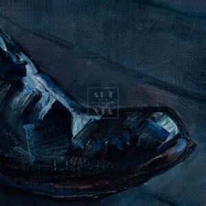 Фрагмент картины 2/3. Натюрморт с черными сапогами