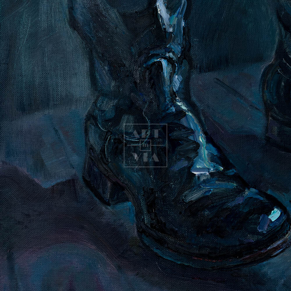 Фрагмент картины 3/3. Натюрморт с черными сапогами