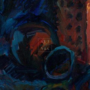 Фрагмент картины 3/3. Натюрморт. Кости и два кирпича
