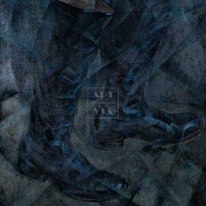 Фрагмент картины 1/3. Натюрморт. Черные офицерские сапоги