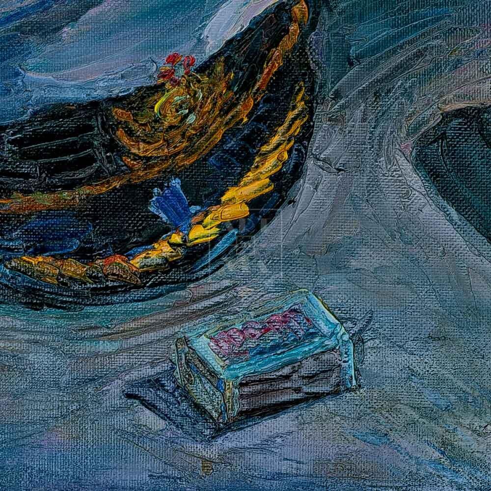 Фрагмент картины 2/3. Натюрморт с фуражкой и селедкой