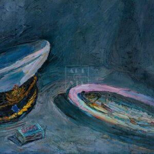 Фрагмент картины 3/3. Натюрморт с фуражкой и селедкой