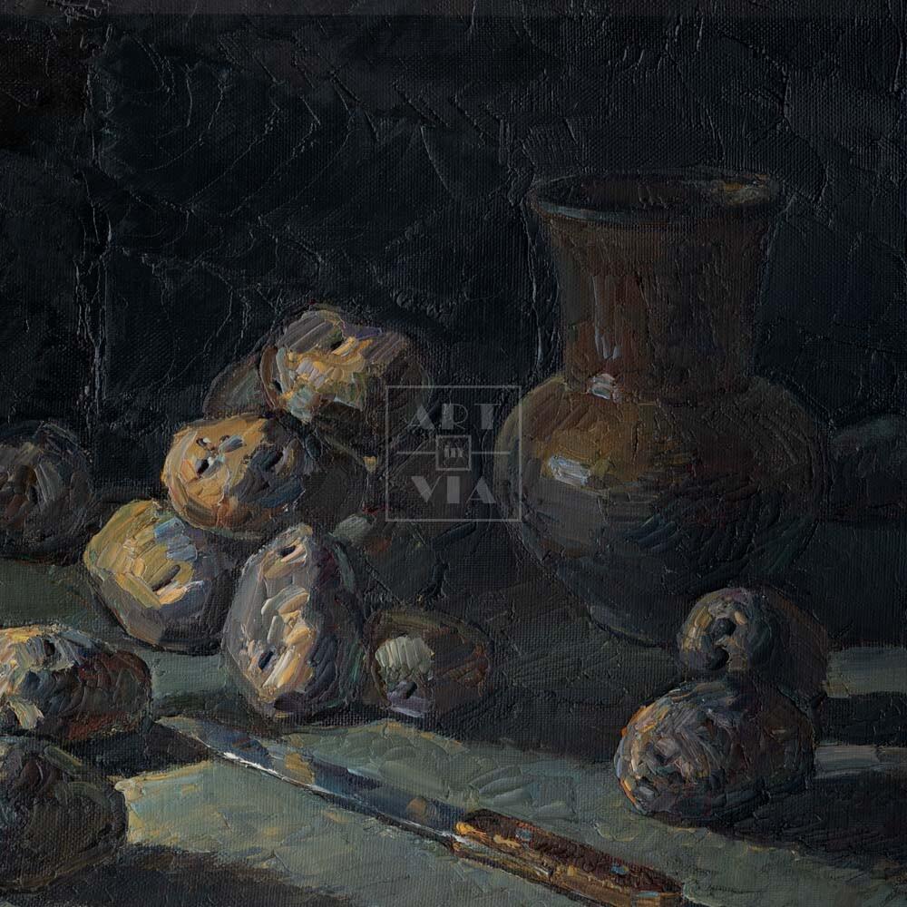 Фрагмент картины 1/3. Натюрморт с ножом и кринкой
