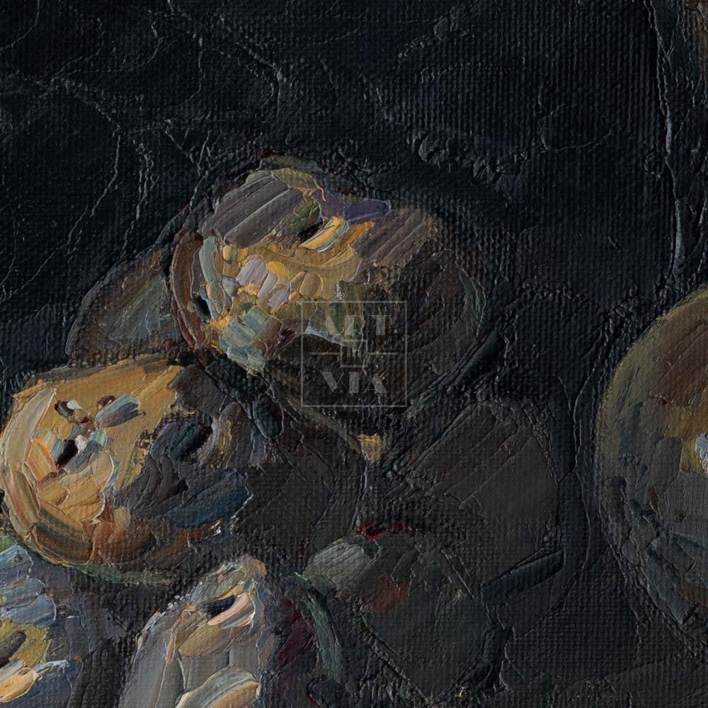 Фрагмент картины 2/3. Натюрморт с ножом и кринкой