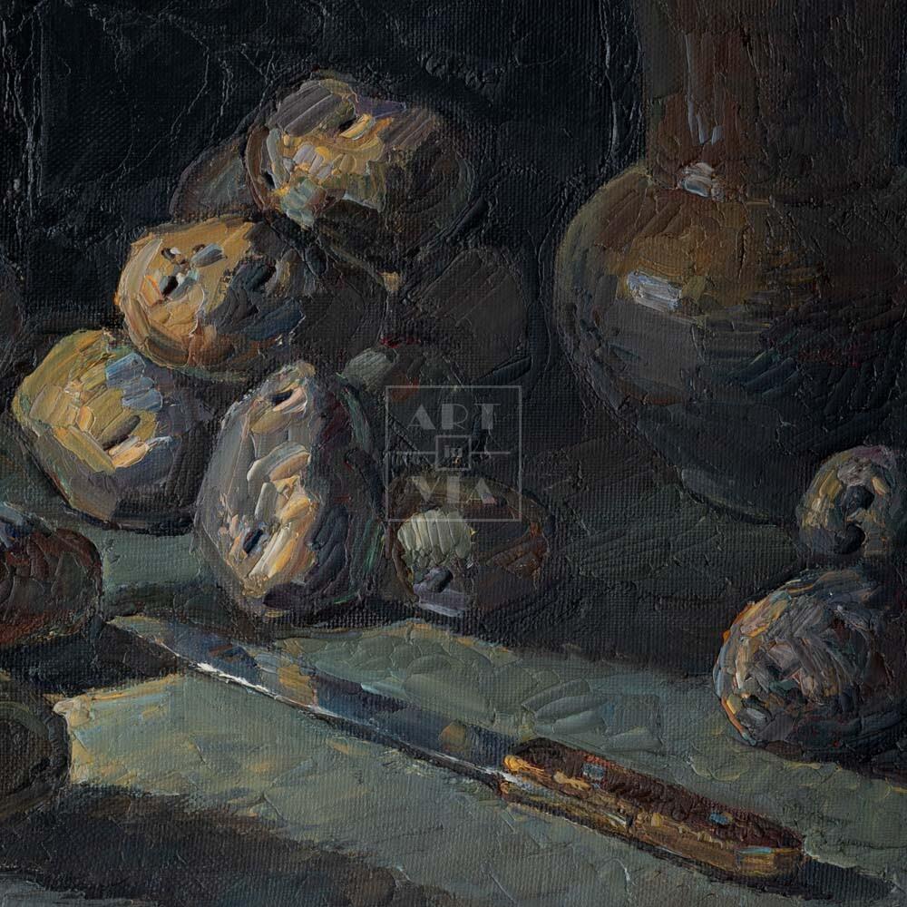 Фрагмент картины 3/3. Натюрморт с ножом и кринкой