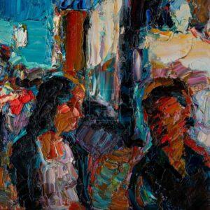 Фрагмент картины 3/3. Пейзаж. № 3. Улица Тверская в 0 часов 30 минут