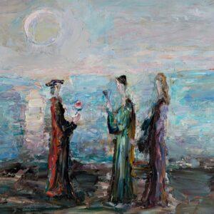 Фрагмент картины 1/3. Интересный сюжет. Три фигуры у моря