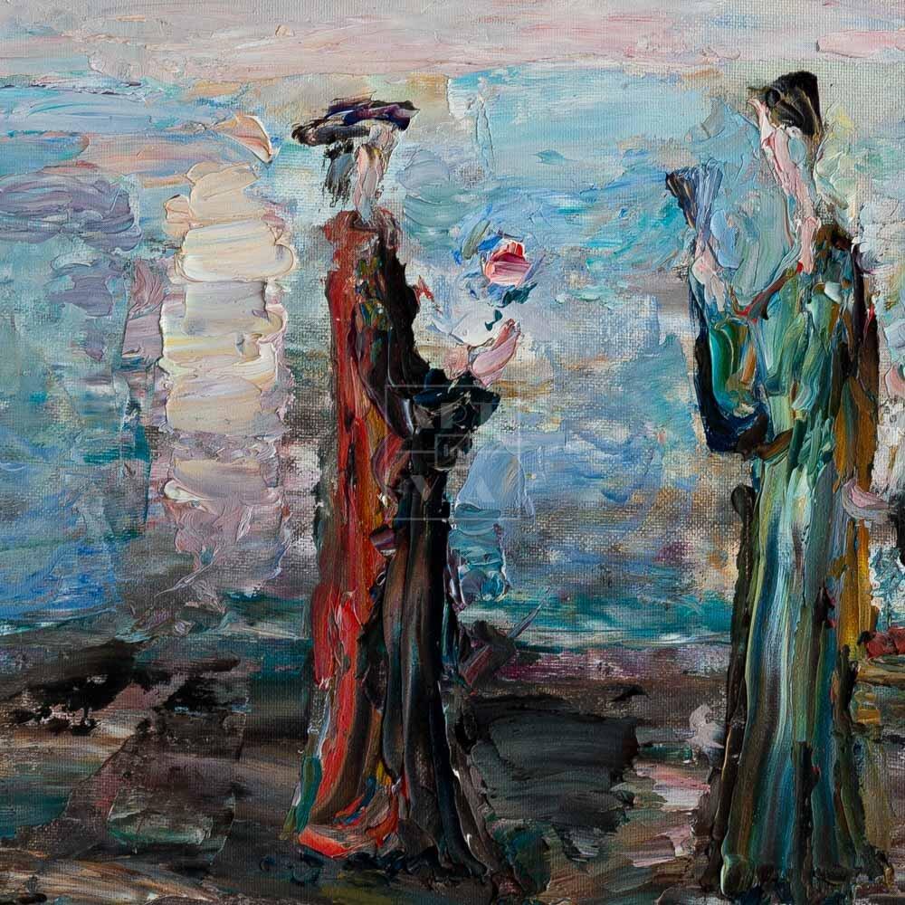 Фрагмент картины 3/3. Интересный сюжет. Три фигуры у моря