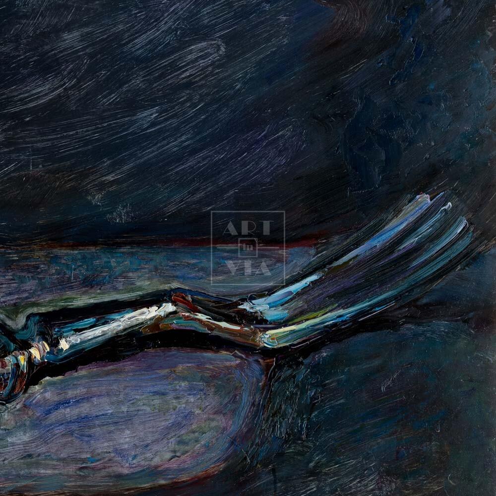 Фрагмент картины 3/3. Натюрморт с вилкой