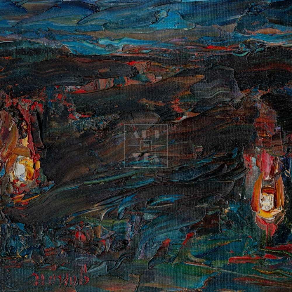 Фрагмент картины 1/3. Пейзаж. Три костра