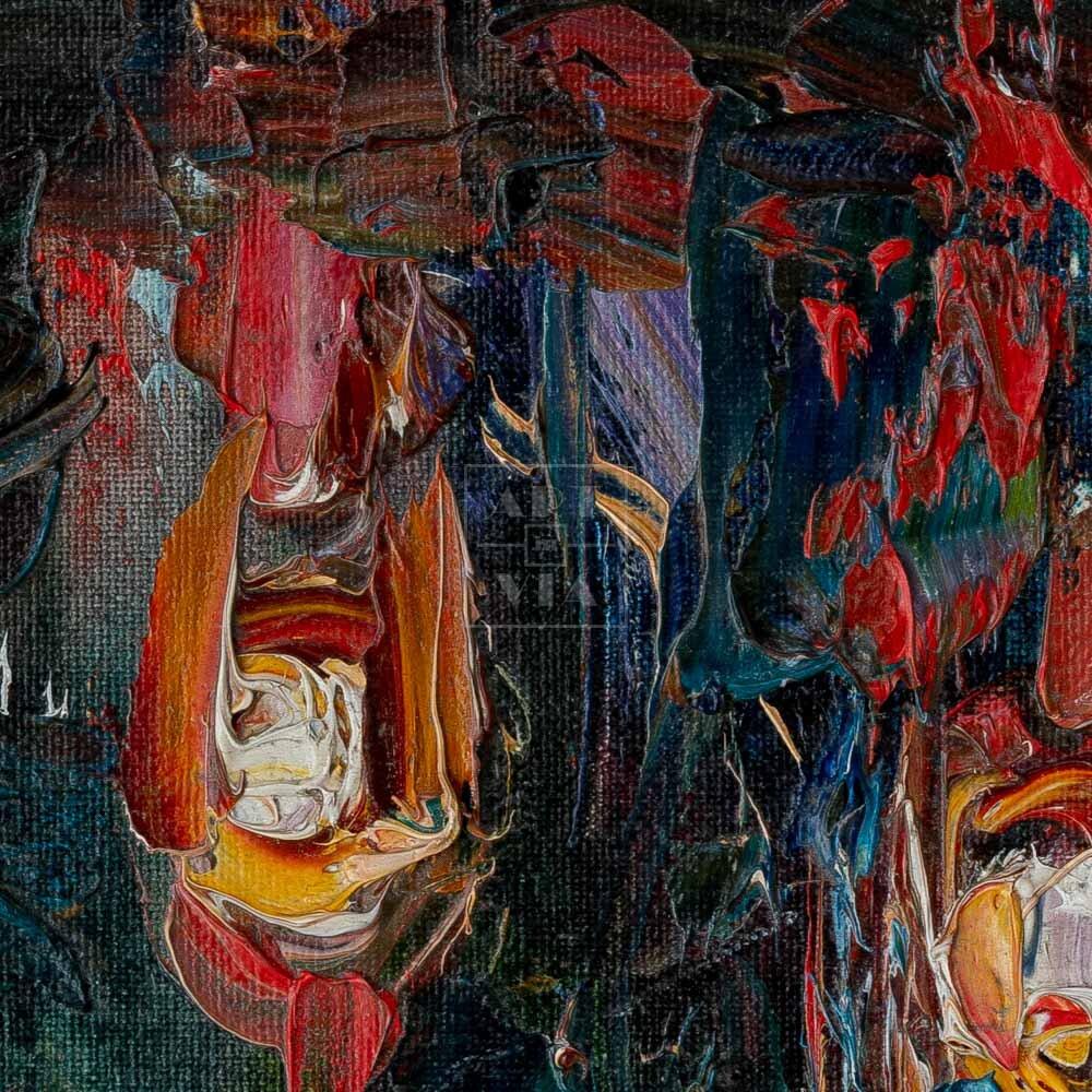 Фрагмент картины 2/3. Пейзаж. Три костра
