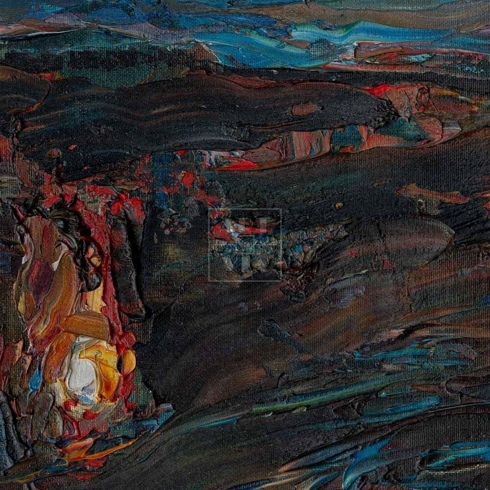 Фрагмент картины 3/3. Пейзаж. Три костра