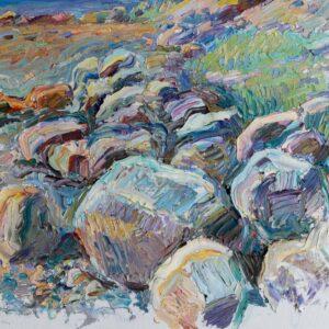 Фрагмент картины 1/3. Пейзаж. На Соловках. Камни