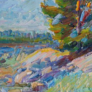 Фрагмент картины 2/3. Пейзаж. На Соловках. Камни