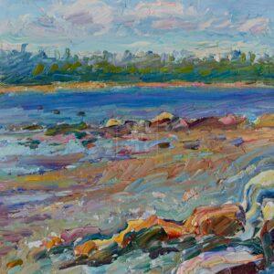 Фрагмент картины 3/3. Пейзаж. На Соловках. Камни