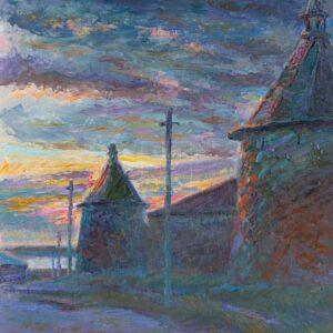 Фрагмент картины 1/3. Пейзаж. Соловецкий монастырь