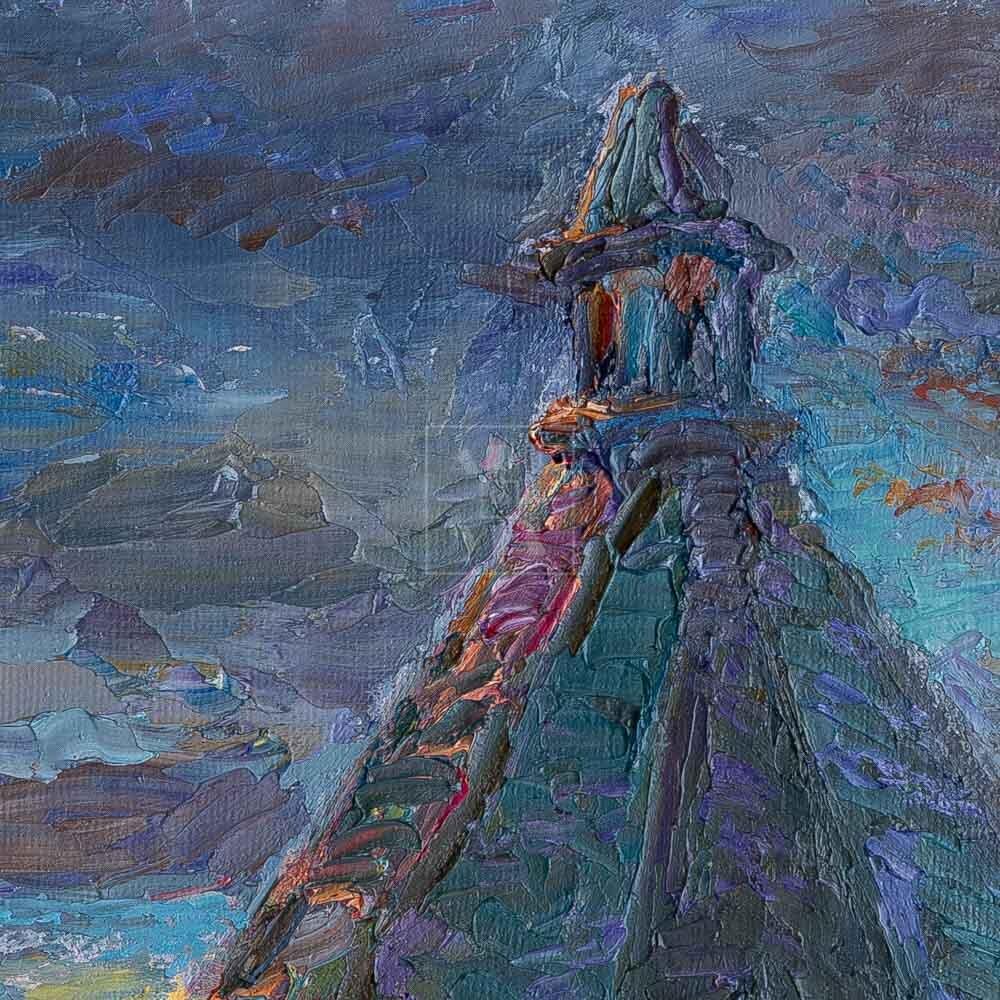 Фрагмент картины 2/3. Пейзаж. Соловецкий монастырь