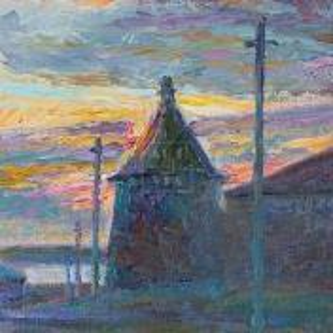 Фрагмент картины 3/3. Пейзаж. Соловецкий монастырь