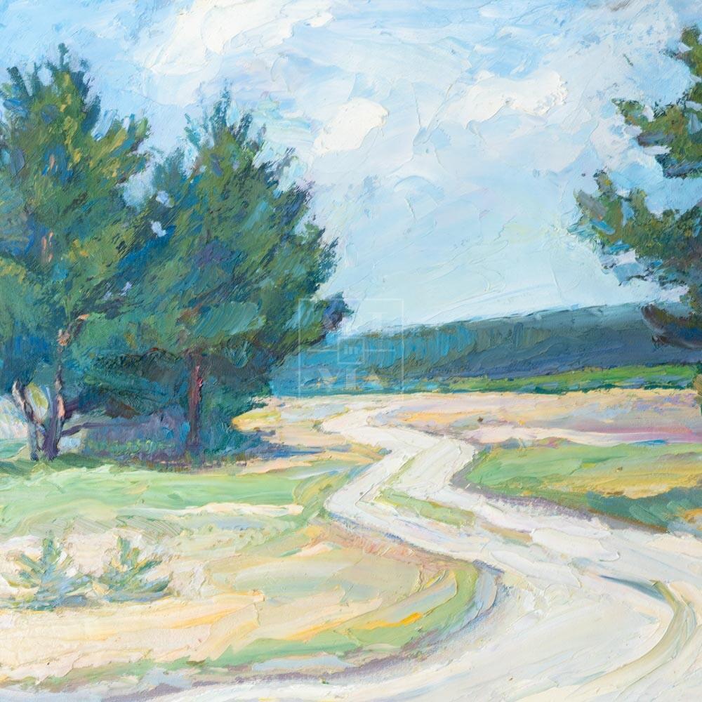 Фрагмент картины 1/3. Пейзаж. Дорога и сосны