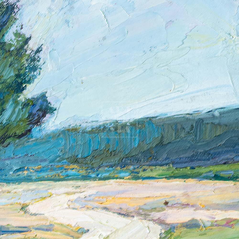 Фрагмент картины 2/3. Пейзаж. Дорога и сосны