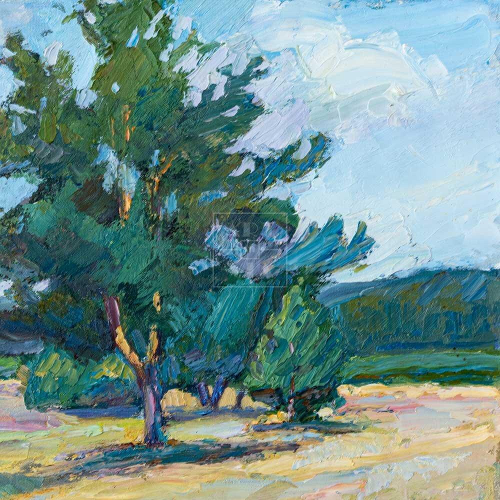 Фрагмент картины 3/3. Пейзаж. Дорога и сосны