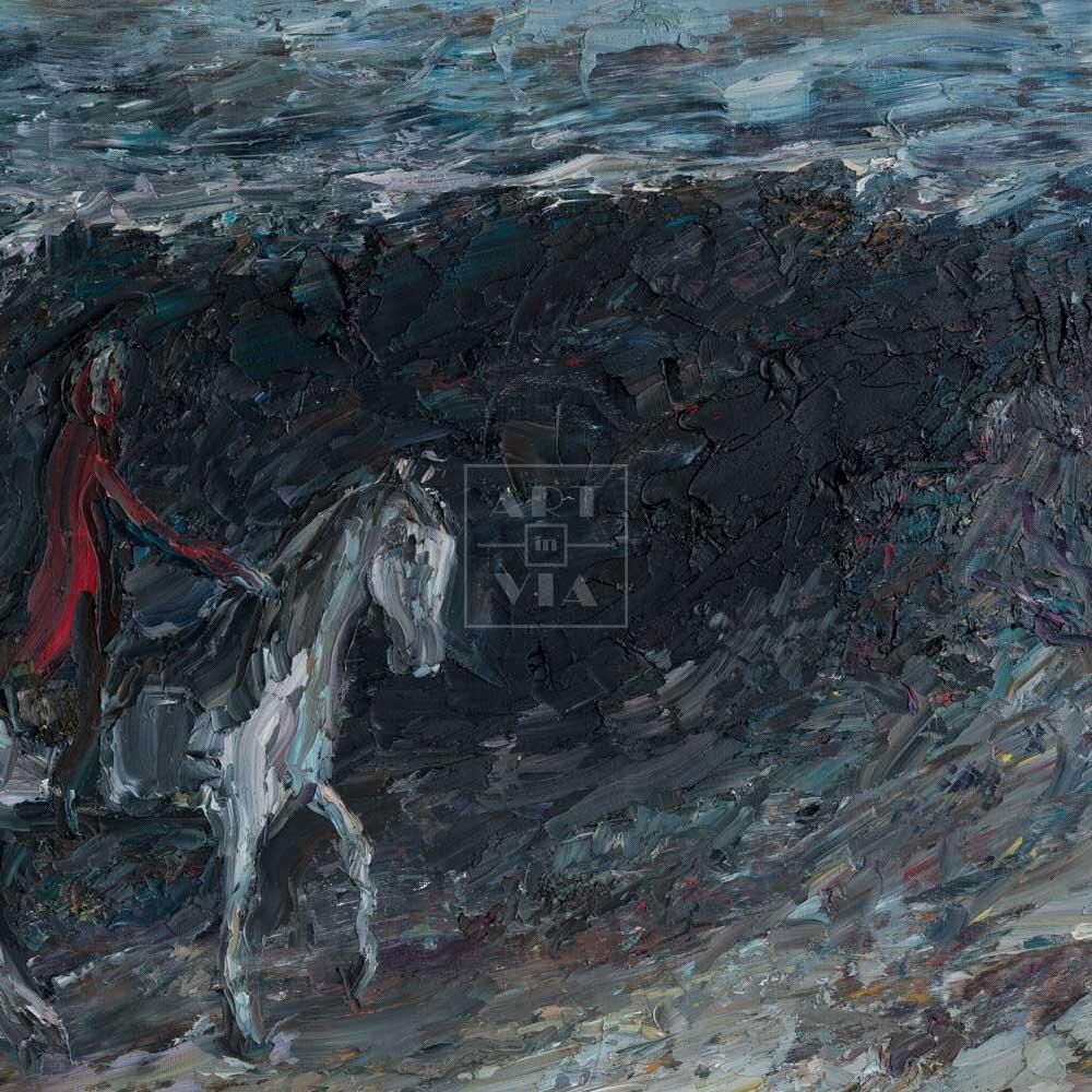 Фрагмент картины 1/3. Всадник в красном