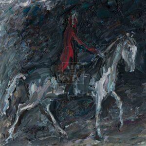 Фрагмент картины 3/3. Всадник в красном