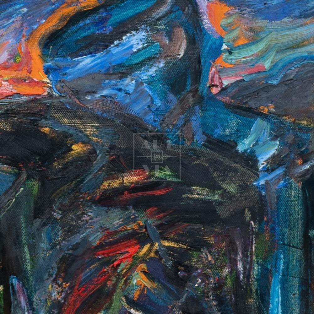 Фрагмент картины 2/3. Натюрморт. На крыше. Красный патефон