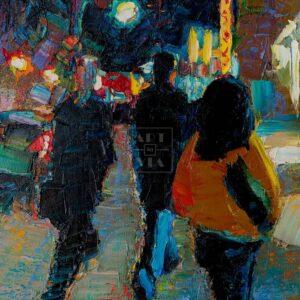 Фрагмент картины 3/3. Пейзаж. № 6. Улица Тверская в 0 часов 30 минут