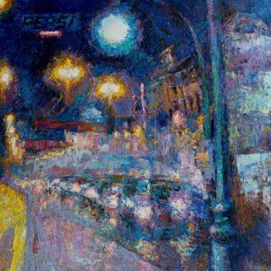 Фрагмент картины 1/3. Пейзаж. № 7. Улица Тверская в 0 часов 30 минут